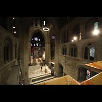 Trondheim, Nidarosdomen (Wagner-Orgel), Blick vom Spieltisch der Wagner-Orgel in die Vierung