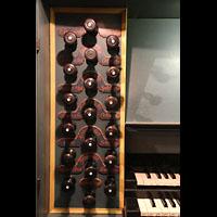 Trondheim, Nidarosdomen (Wagner-Orgel), Linke Registerstaffel am Spieltisch der Wagner-Orgel