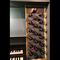 Trondheim, Nidarosdomen (Wagner-Orgel), Rechte Registerstaffel am Spieltisch der Wagner-Orgel