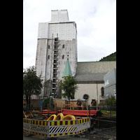 Bergen, Domkirke, Seitenansicht mit Turmbaustelle