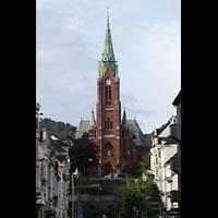 Bergen, Johanneskirke, Blick von der Fußgängerzone Rosenbergsgaten zur Kirche