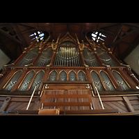 Bergen, Johanneskirke, Orgel mit Spieltischrückwand perspektivisch