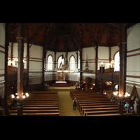 Bergen, Johanneskirke, Blick vom Spielotisch in die Kirche