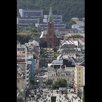 Bergen, Johanneskirke, Blick von der Musikschule Skansens Bataljon zur Kirche und auf die Stadt