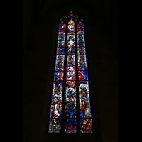 Ulm, Münster (Hauptorgel), Buntes Fenster mit Glasmalerei