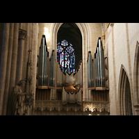 Ulm, Münster (Hauptorgel), Blick zur Orgel mit Westfenster