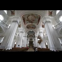 Weingarten, Basilika St. Martin - Große Orgel, Innenraum / Hauptschiff in Richtung Chor