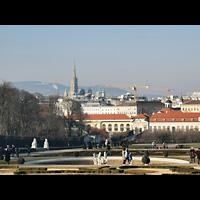 Wien (Vienna), Stephansdom (Orgelanlage), Blick vom Belvedere zum Stephansdom