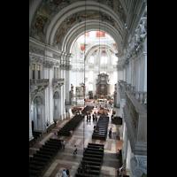 Salzburg, Dom (Hauptorgel), Blick von der Orgelempore ins Hauptschiff