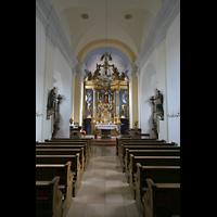 Passau, Mariahilf Wallfahrtskirche, Innenraum in Richtung Chor
