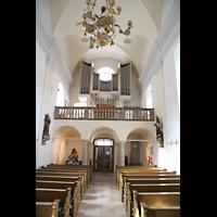 Passau, Mariahilf Wallfahrtskirche, Innenraum in Richtung Orgel