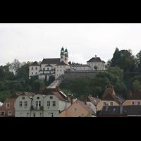 Passau, Mariahilf Wallfahrtskirche, Blick über den Inn auf den Mariahilfberg