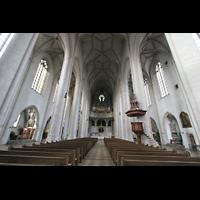 Ingolstadt, Liebfrauenmünster (Truhenorgel), Innenraum / Hauptschiff in Richtung Orgel
