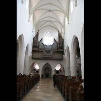Ingolstadt, St. Moritz, Innenraum / Hauptschiff in Richtung Orgel