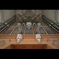 Ingolstadt, Liebfrauenmünster (Truhenorgel), Orgelprospekt vom Spieltisch aus