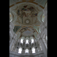 Neresheim, Abteikirche, Orgel mit Deckengemälde