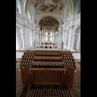 Neresheim, Abteikirche, Spieltisch mit Blick in die Kirche