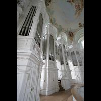 Neresheim, Abteikirche, Orgel mit Spieltisch