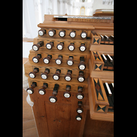Neresheim, Abteikirche, Linke Registerstaffel am Spieltisch