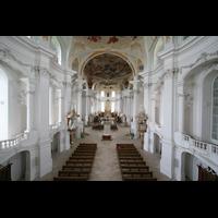 Neresheim, Abteikirche, Blick von der Orgelempore in die Kirche