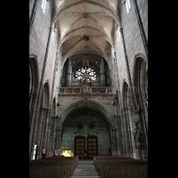 Nürnberg (Nuremberg), St. Lorenz (Positiv), Innenraum / Hauptschiff in Richtung Orgel