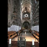 Nürnberg (Nuremberg), St. Lorenz (Positiv), Blick vom Chorraum zur großen Orgel