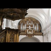 Fulda, Dom St. Salvator (Hochchororgel), Kanzel und Hauptorgel