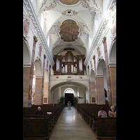 Fulda, Stadtpfarrkirche St. Blasius, Innenraum / Hauptschiff in Richtung Orgel