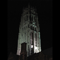 New York (NY), Riverside Church, Christ Chapel, Turm bei Nacht