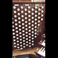 Hanover (PA), St. Matthew's Lutheran Church, Spieltisch - Teilansicht linke Registerstaffel