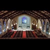 Hanover (PA), St. Matthew's Lutheran Church, Blick von der Empore (Antiphonal) in die Kirche