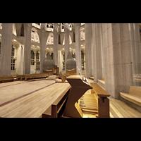 Barcelona, La Sagrada Familia (Chororgel), Spieltisch mit Chororgel (6 MPix)