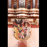 Solms-Oberbiel b. Wetzlar, ehem. Klosterkirche St. Maria und Michael Altenberg, Wappen am Orgelprospekt
