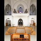Berlin (Schöneberg), St. Matthias, Gesamtansicht der Orgel mit Spieltisch (Fotomontage, M.D.)