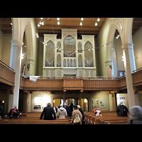 Berlin - Pankow, Alte Pfarrkirche ''Zu den Vier Evangelisten'' (Hauptorgel), Innenraum in Richtung Orgel