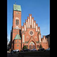 Berlin - Köpenick, Christophoruskirche Friedrichshagen, Außenansicht mit Turm und Hauptportal