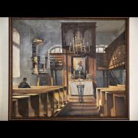 Berlin - Spandau, Dorfkirche Alt-Staaken, Alte Zeichnung des früheren Innenraums mit Orgel hinter dem Altar