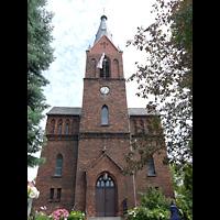 Berlin - Hellersdorf, Dorfkirche Kaulsdorf (Jesus-Kirche), Fassade mit Turm