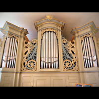 Berlin - Hellersdorf, Dorfkirche Kaulsdorf (Jesus-Kirche), Orgel perspektivisch