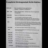 Berlin - Lichtenberg, Dorfkirche Malchow, Infotafel zur Geschichte der Dorfkirche Malchow