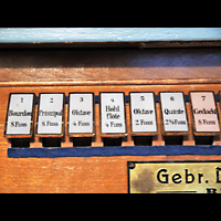 Berlin - Marzahn, Dorfkirche, Registerwippen des 1. Manuals