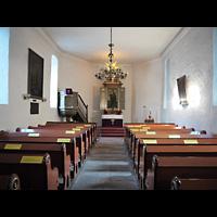 Berlin - Neukölln, Dorfkirche Rixdorf (Bethlehemskirche), Innenraum in Richtung Altar