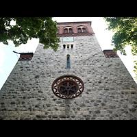 Berlin - Pankow, Dorfkirche Rosenthal, Fassade mit Turm