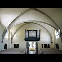 Berlin - Friedrichshain, Dorfkirche Stralau, Innenraum in Richtung Orgel