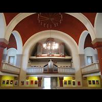 Berlin (Reinickendorf), Dorfkirche Alt Tegel (ev.) - Positiv, Innenraum in Richtung Orgel