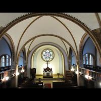 Berlin - Treptow, Ev. Kirche Altglienicke (Hauptorgel), Blick von der Orgelempore in die Kirche