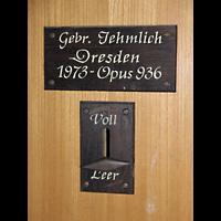 Berlin (Prenzlauer Berg), Gethsemane-Kirche (Positiv), Erbauerschild
