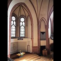 Berlin - Tiergarten, Reformationskirche (REFO Kirche) Moabit, Hauptorgel, Blick von der Orgelempore zum Altar und zur Chororgel