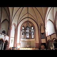 Berlin - Tiergarten, Reformationskirche (REFO Kirche) Moabit, Hauptorgel, Innenraum in Richtung Altar