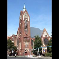 Berlin - Tiergarten, Reformationskirche (REFO Kirche) Moabit, Hauptorgel, Außenansicht der Kirche